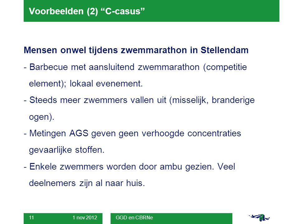 1 nov 2012 GGD en CBRNe 11 Voorbeelden (2) C-casus Mensen onwel tijdens zwemmarathon in Stellendam - Barbecue met aansluitend zwemmarathon (competitie element); lokaal evenement.