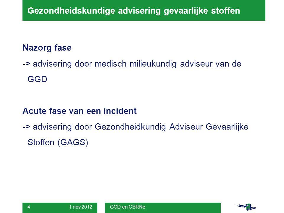 1 nov 2012 GGD en CBRNe 15 Advies GAGS:  AGS ter plaatse mondelinge toelichting over hoeveelheid straling die rond de bus is gemeten.