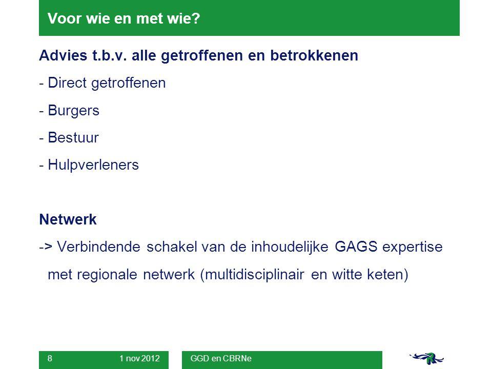 1 nov 2012 GGD en CBRNe 19 Medische milieukunde in GROP Rotterdam-Rijnmond Informatielijnen -Verkrijgen van informatie tijdens en direct na crisis om taken uit te voeren -> overdrachtsafspraken met GAGS.