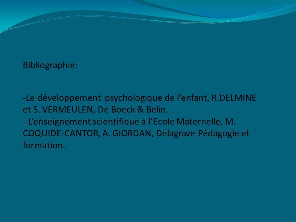 Bibliographie: -Le développement psychologique de l'enfant, R.DELMINE et S.