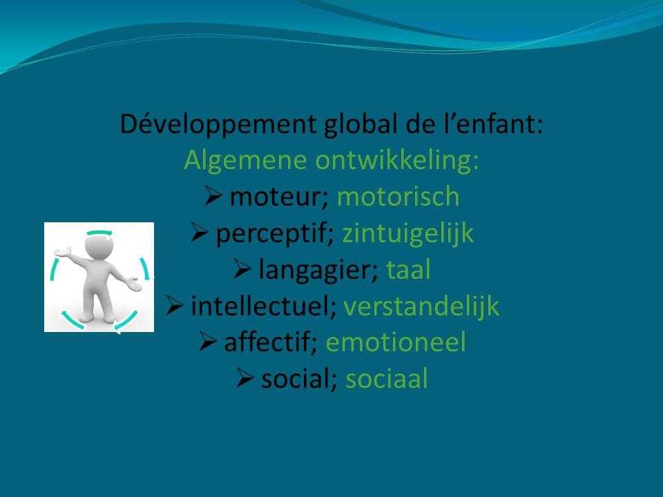 Développement global de l'enfant: Algemene ontwikkeling:  moteur; motorisch  perceptif; zintuigelijk  langagier; taal  intellectuel; verstandelijk  affectif; emotioneel  social; sociaal