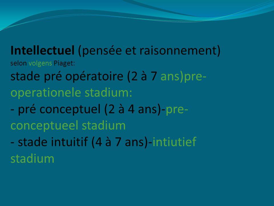 Intellectuel (pensée et raisonnement) selon volgens Piaget: stade pré opératoire (2 à 7 ans)pre- operationele stadium: - pré conceptuel (2 à 4 ans)-pre- conceptueel stadium - stade intuitif (4 à 7 ans)-intiutief stadium