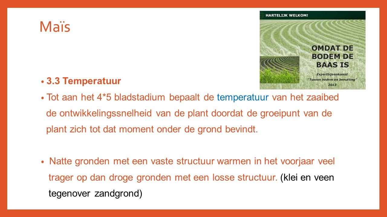 Maïs 3.3 Temperatuur Tot aan het 4*5 bladstadium bepaalt de temperatuur van het zaaibed de ontwikkelingssnelheid van de plant doordat de groeipunt van