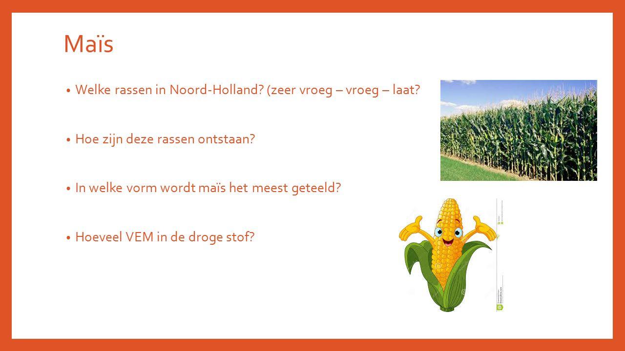 Welke rassen in Noord-Holland? (zeer vroeg – vroeg – laat? Hoe zijn deze rassen ontstaan? In welke vorm wordt maïs het meest geteeld? Hoeveel VEM in d