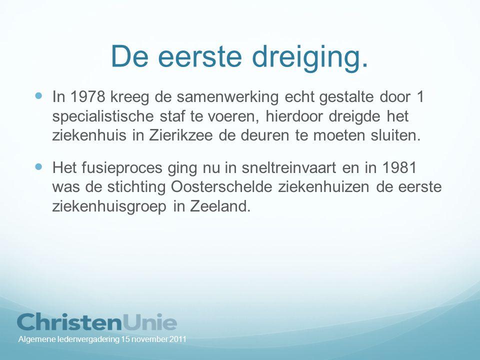 De rust Met de komst van de stichting Oosterschelde ziekenhuizen kwam voorlopig een einde aan de strijd over het voorbestaan van het ziekenhuis in Zierikzee.