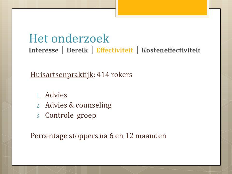 Huisartsenpraktijk: 414 rokers 1. Advies 2. Advies & counseling 3.