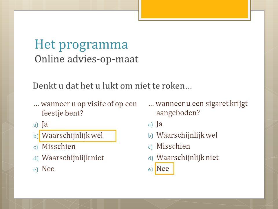 Het programma Online advies-op-maat Beste mevrouw Jansen, U denkt dat het u lukt om niet te roken wanneer u op een feestje of op visite bent.