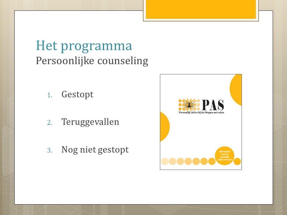 Het programma Persoonlijke counseling 1. Gestopt 2. Teruggevallen 3. Nog niet gestopt