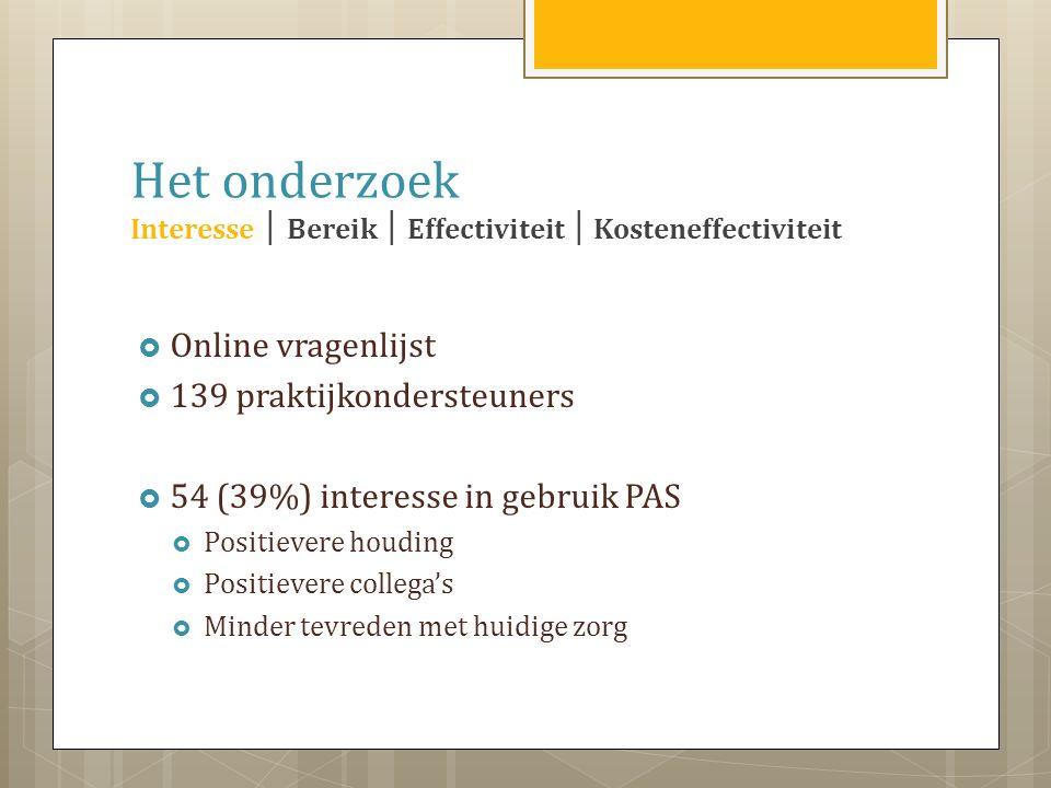 Het onderzoek Interesse │ Bereik │ Effectiviteit │ Kosteneffectiviteit  Online vragenlijst  139 praktijkondersteuners  54 (39%) interesse in gebruik PAS  Positievere houding  Positievere collega's  Minder tevreden met huidige zorg
