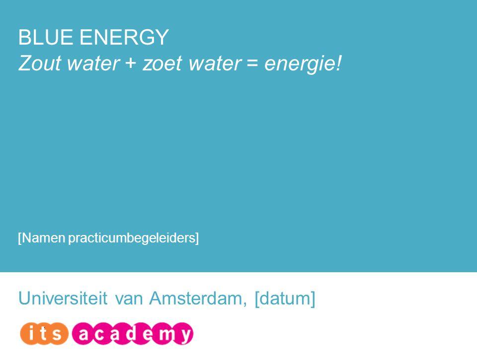 BLUE ENERGY Zout water + zoet water = energie.
