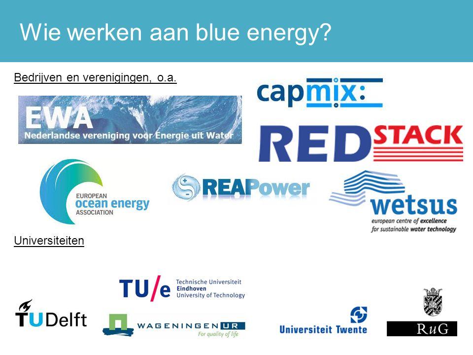 Wie werken aan blue energy 7 Bedrijven en verenigingen, o.a. Universiteiten