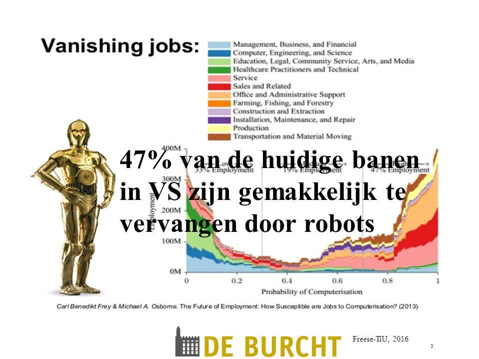 Freese-TiU, 2016 3 47% van de huidige banen in VS zijn gemakkelijk te vervangen door robots