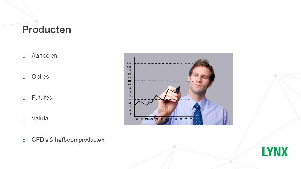 ▶ Aandelen ▶ Opties ▶ Futures ▶ Valuta ▶ CFD's & hefboomproducten Producten