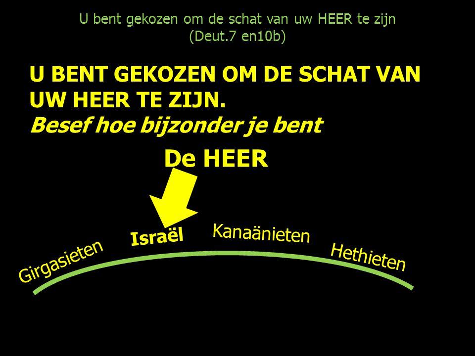 U bent gekozen om de schat van uw HEER te zijn (Deut.7 en10b) U BENT GEKOZEN OM DE SCHAT VAN UW HEER TE ZIJN. Besef hoe bijzonder je bent Israël Hethi