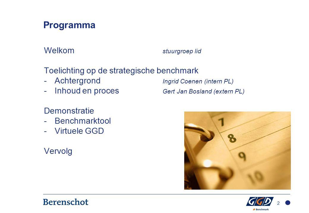 Programma Welkom stuurgroep lid Toelichting op de strategische benchmark -Achtergrond Ingrid Coenen (intern PL) -Inhoud en proces Gert Jan Bosland (extern PL) Demonstratie -Benchmarktool -Virtuele GGD Vervolg 2