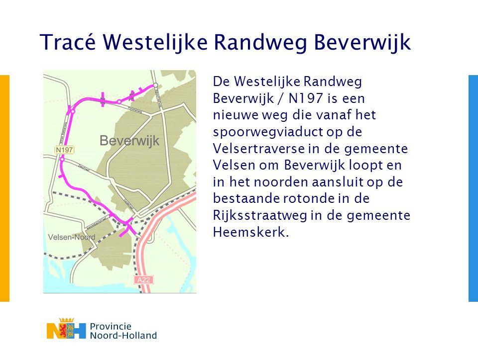 Tracé Westelijke Randweg Beverwijk De Westelijke Randweg Beverwijk / N197 is een nieuwe weg die vanaf het spoorwegviaduct op de Velsertraverse in de g