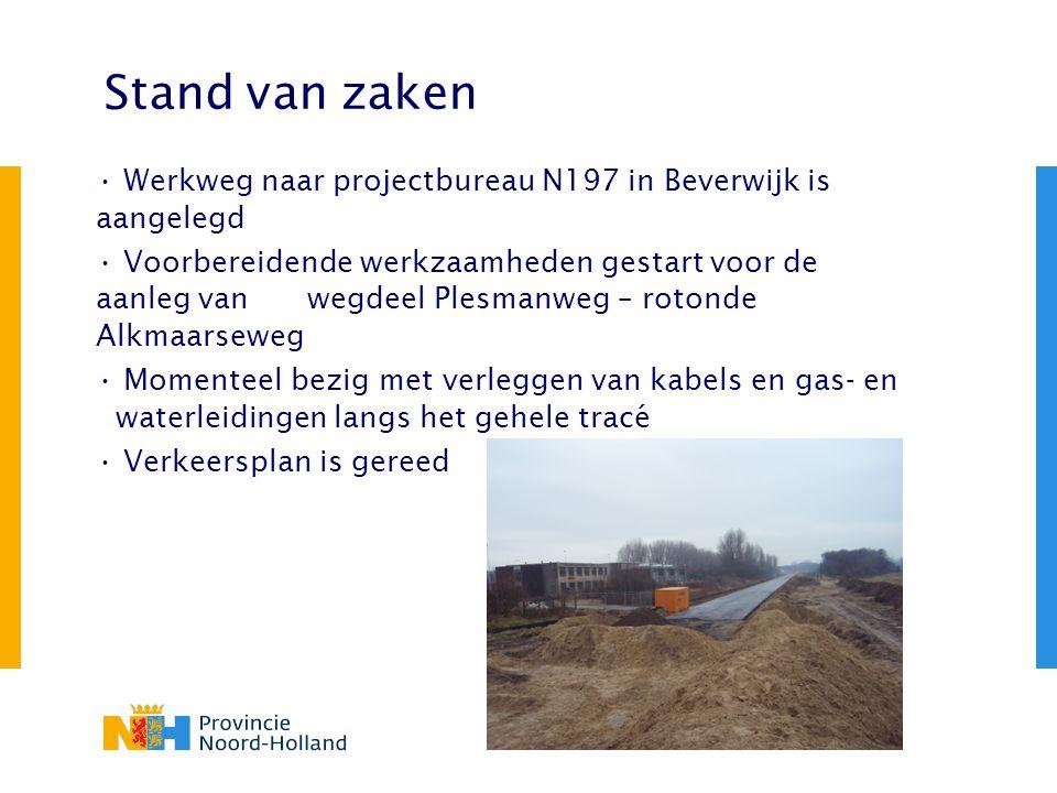 Stand van zaken Werkweg naar projectbureau N197 in Beverwijk is aangelegd Voorbereidende werkzaamheden gestart voor de aanleg van wegdeel Plesmanweg –