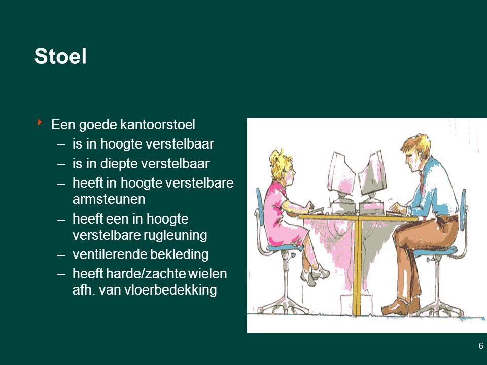 6 Stoel  Een goede kantoorstoel –is in hoogte verstelbaar –is in diepte verstelbaar –heeft in hoogte verstelbare armsteunen –heeft een in hoogte verstelbare rugleuning –ventilerende bekleding –heeft harde/zachte wielen afh.
