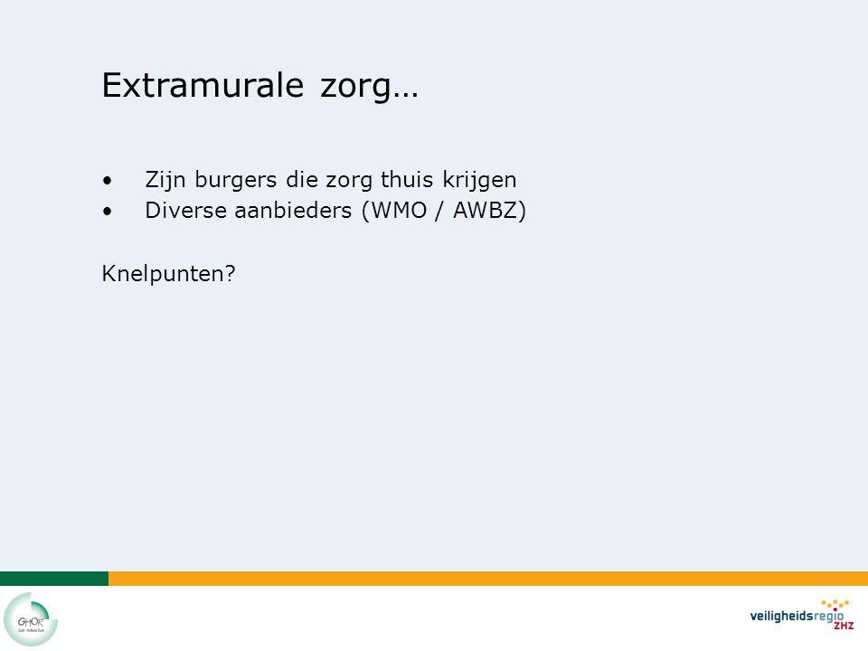 Extramurale zorg… Zijn burgers die zorg thuis krijgen Diverse aanbieders (WMO / AWBZ) Knelpunten