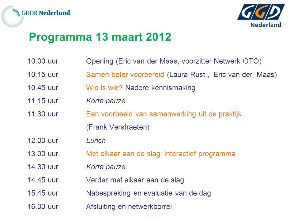 Programma 13 maart 2012 10.00 uur Opening (Eric van der Maas, voorzitter Netwerk OTO) 10.15 uurSamen beter voorbereid (Laura Rust, Eric van der Maas) 10.45 uurWie is wie.