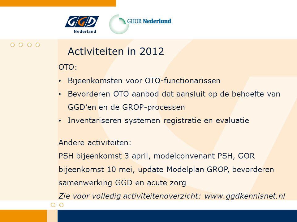 Activiteiten in 2012 OTO: Bijeenkomsten voor OTO-functionarissen Bevorderen OTO aanbod dat aansluit op de behoefte van GGD'en en de GROP-processen Inventariseren systemen registratie en evaluatie Andere activiteiten: PSH bijeenkomst 3 april, modelconvenant PSH, GOR bijeenkomst 10 mei, update Modelplan GROP, bevorderen samenwerking GGD en acute zorg Zie voor volledig activiteitenoverzicht: www.ggdkennisnet.nl