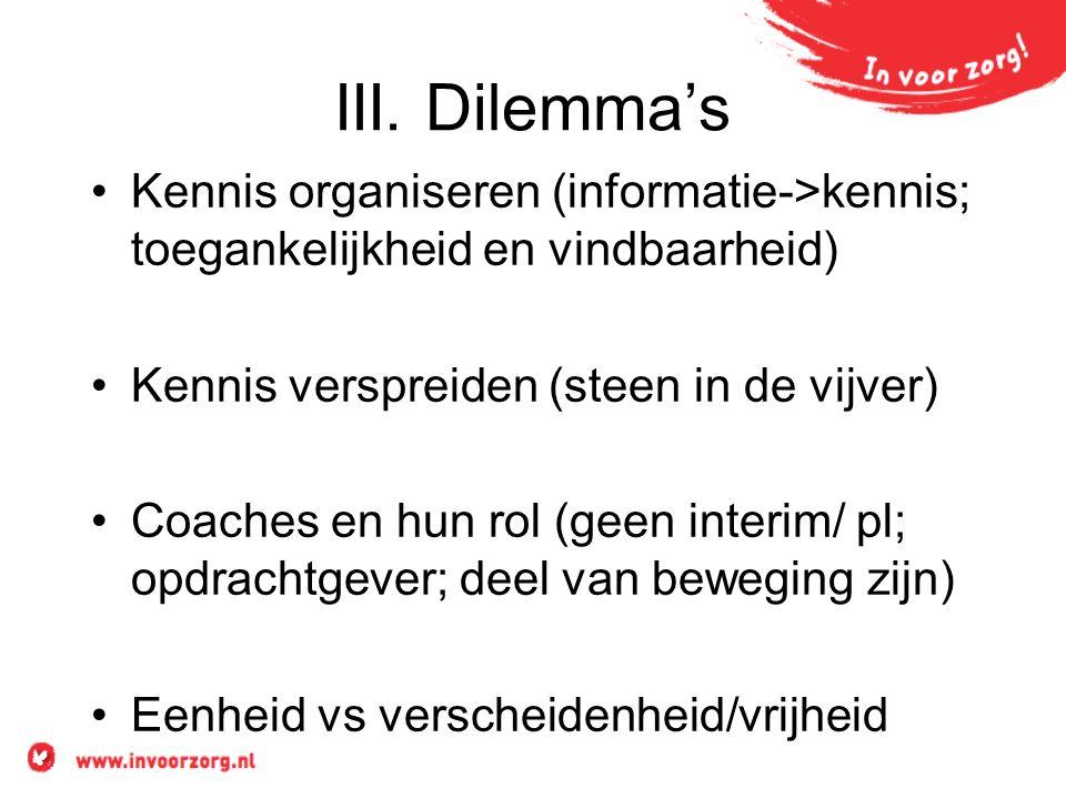 III. Dilemma's Kennis organiseren (informatie->kennis; toegankelijkheid en vindbaarheid) Kennis verspreiden (steen in de vijver) Coaches en hun rol (g
