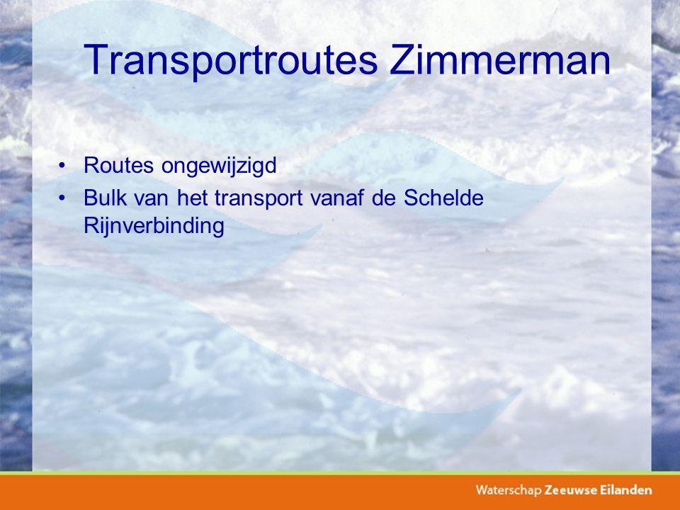 Transportroutes Zimmerman Routes ongewijzigd Bulk van het transport vanaf de Schelde Rijnverbinding
