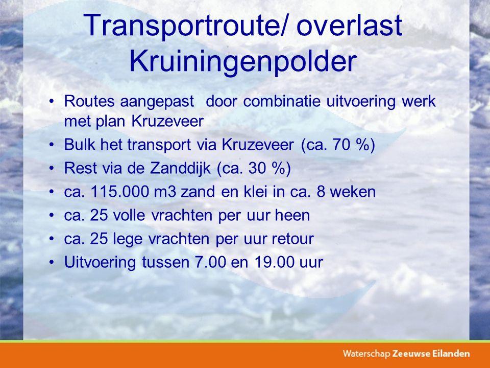 Transportroute/ overlast Kruiningenpolder Routes aangepast door combinatie uitvoering werk met plan Kruzeveer Bulk het transport via Kruzeveer (ca.