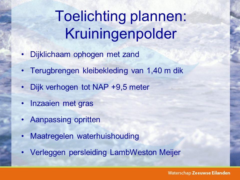 Toelichting plannen: Kruiningenpolder Dijklichaam ophogen met zand Terugbrengen kleibekleding van 1,40 m dik Dijk verhogen tot NAP +9,5 meter Inzaaien met gras Aanpassing opritten Maatregelen waterhuishouding Verleggen persleiding LambWeston Meijer