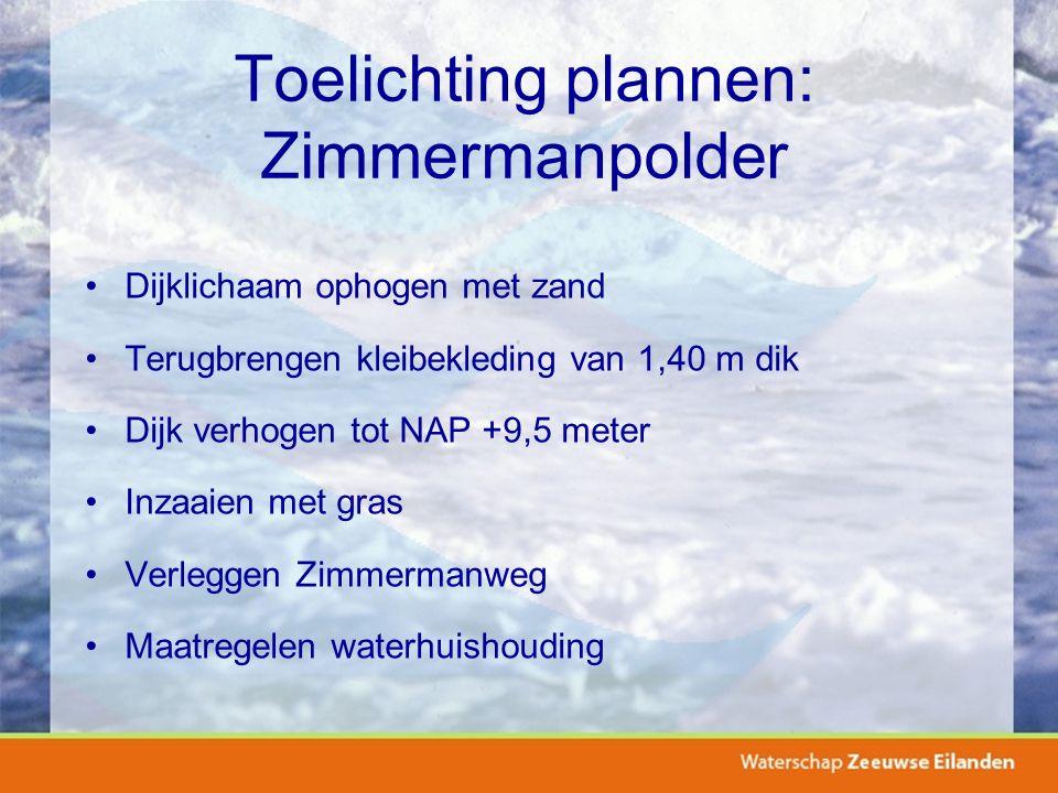 Toelichting plannen: Zimmermanpolder Dijklichaam ophogen met zand Terugbrengen kleibekleding van 1,40 m dik Dijk verhogen tot NAP +9,5 meter Inzaaien met gras Verleggen Zimmermanweg Maatregelen waterhuishouding