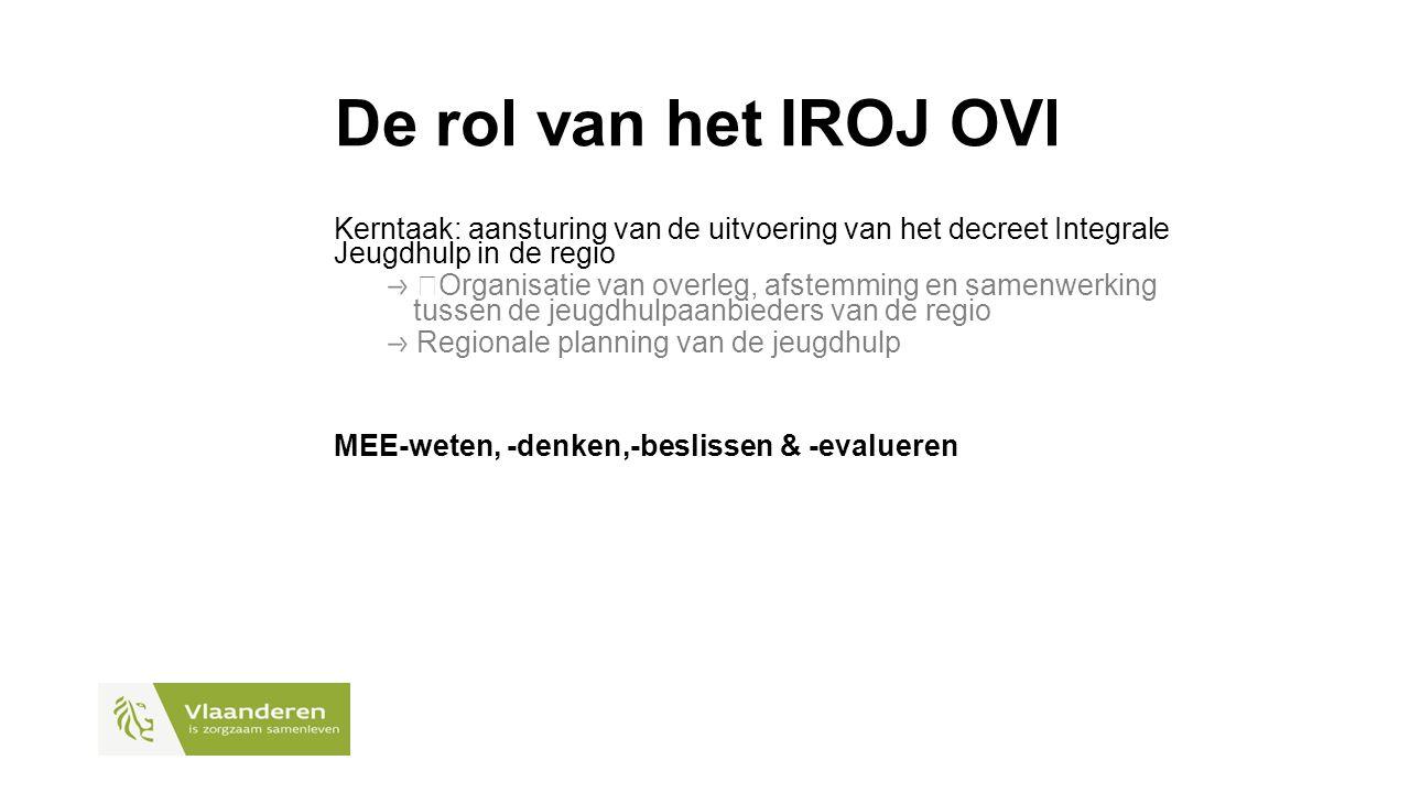 De rol van het IROJ OVl Kerntaak: aansturing van de uitvoering van het decreet Integrale Jeugdhulp in de regio  Organisatie van overleg, afstemming en samenwerking tussen de jeugdhulpaanbieders van de regio Regionale planning van de jeugdhulp MEE-weten, -denken,-beslissen & -evalueren