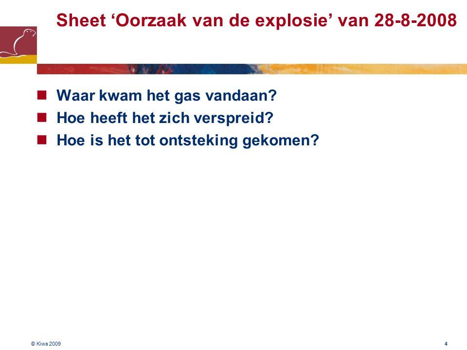 © Kiwa 2009 4 Sheet 'Oorzaak van de explosie' van 28-8-2008 Waar kwam het gas vandaan.
