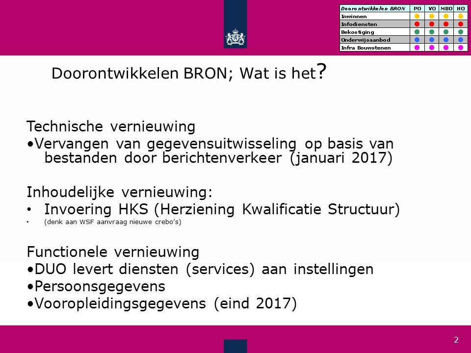 Uitwisseling met BRON vanaf januari 2017 3 1) Geautomatiseerde koppeling tussen instelling (SIS) en DUO (BRON) Instelling met SIS DUO