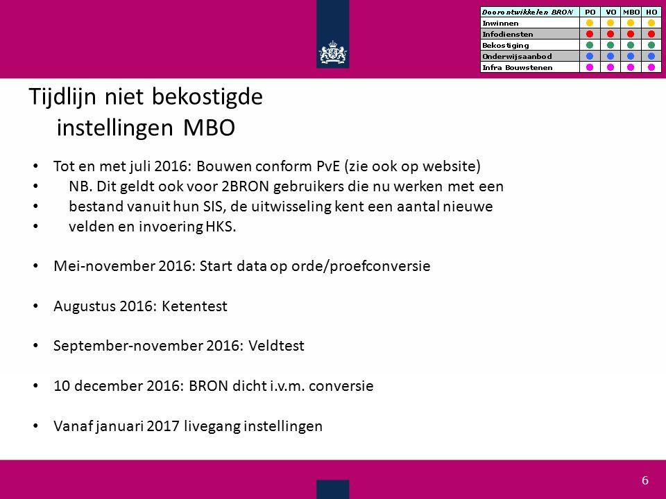 Testen Vanaf 1 augustus 2016 ketentest voor softwareleveranciers (ook voor 2BRON gebruikers die werken met bestanduitwisseling) Vanaf 1 september 2016 tot 1 december 2016 veldtest voor instellingen -Waarom zou ik aan de veldtest meedoen.
