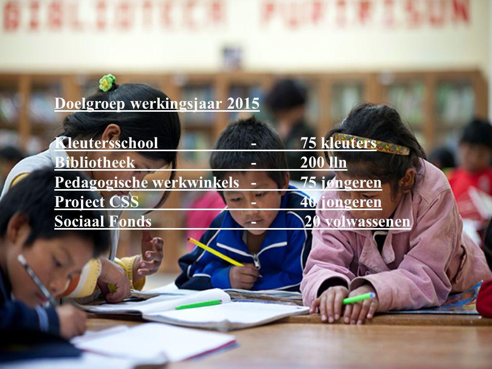 Doelgroep werkingsjaar 2015 Kleutersschool - 75 kleuters Bibliotheek - 200 lln Pedagogische werkwinkels-75 jongeren Project CSS -40 jongeren Sociaal Fonds- 20 volwassenen