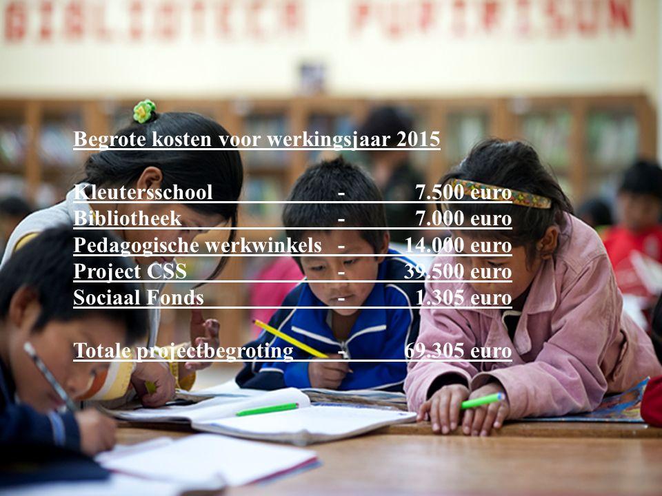 Begrote kosten voor werkingsjaar 2015 Kleutersschool - 7.500 euro Bibliotheek - 7.000 euro Pedagogische werkwinkels-14.000 euro Project CSS -39.500 euro Sociaal Fonds- 1.305 euro Totale projectbegroting-69.305 euro