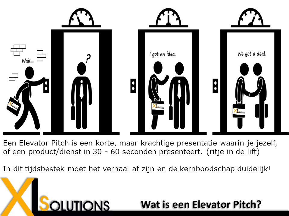 Een Elevator Pitch is een korte, maar krachtige presentatie waarin je jezelf, of een product/dienst in 30 - 60 seconden presenteert.