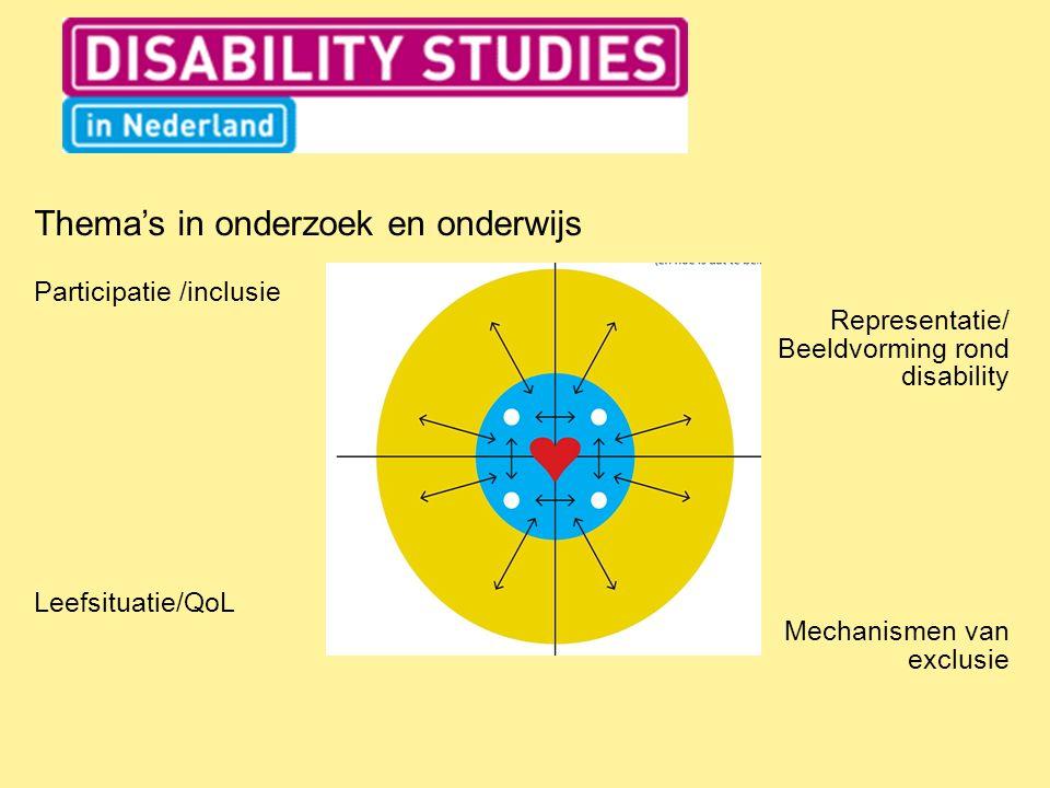 Thema's in onderzoek en onderwijs Participatie /inclusie Representatie/ Beeldvorming rond disability Leefsituatie/QoL Mechanismen van exclusie