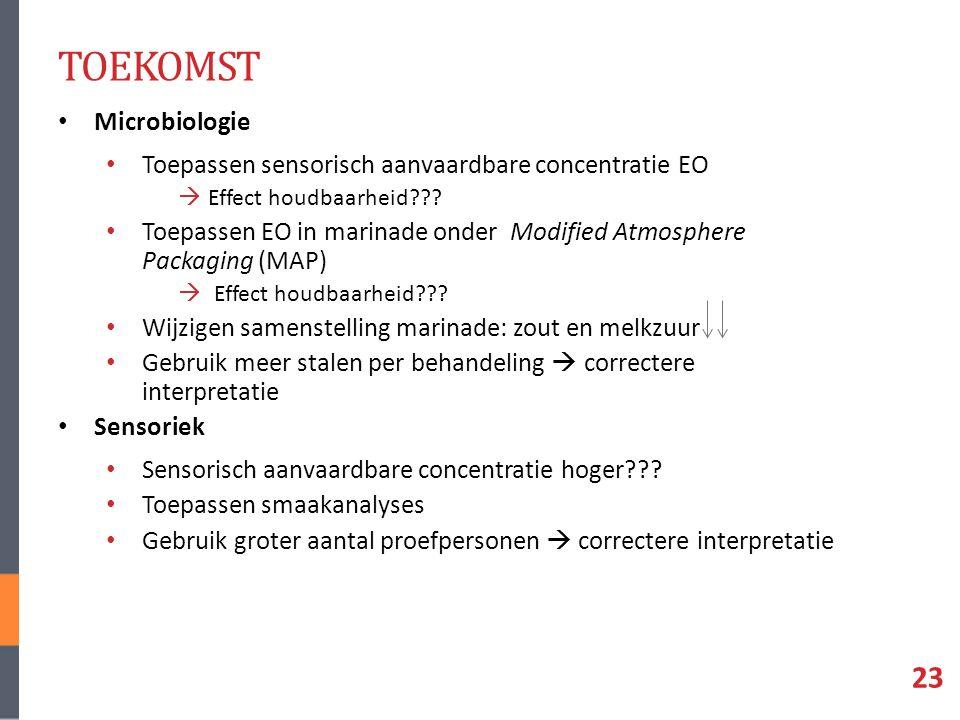 TOEKOMST Microbiologie Toepassen sensorisch aanvaardbare concentratie EO  Effect houdbaarheid .
