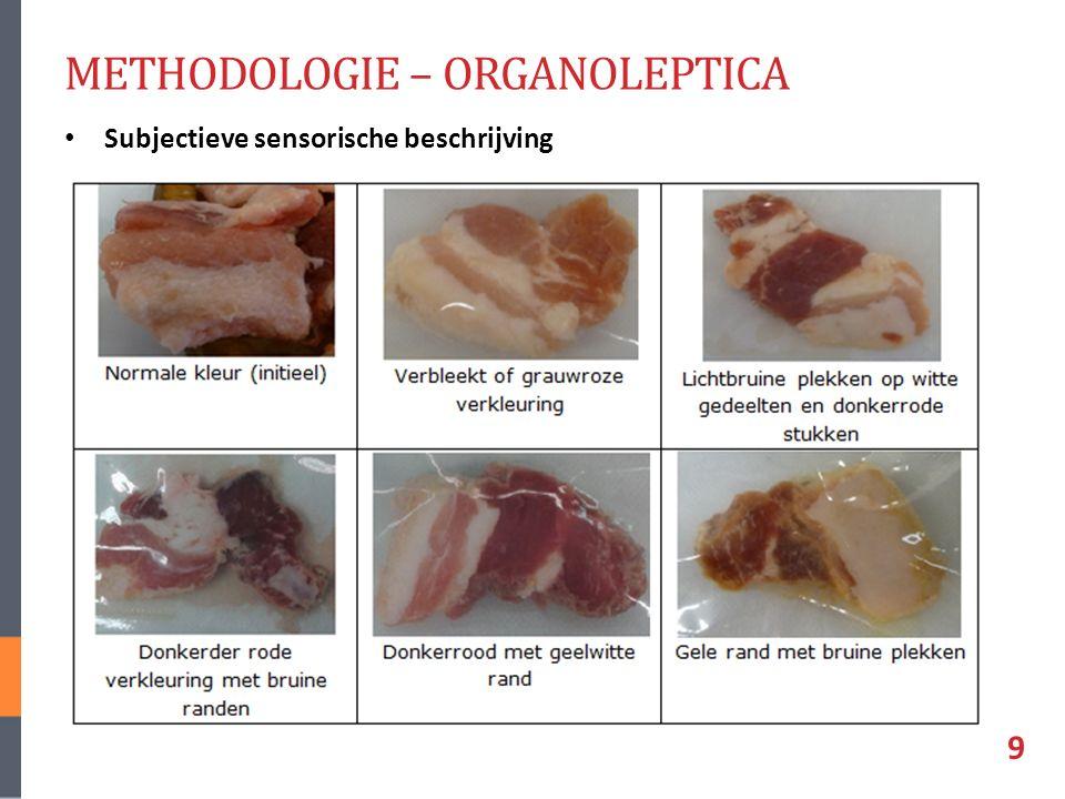METHODOLOGIE – ORGANOLEPTICA Subjectieve sensorische beschrijving 9