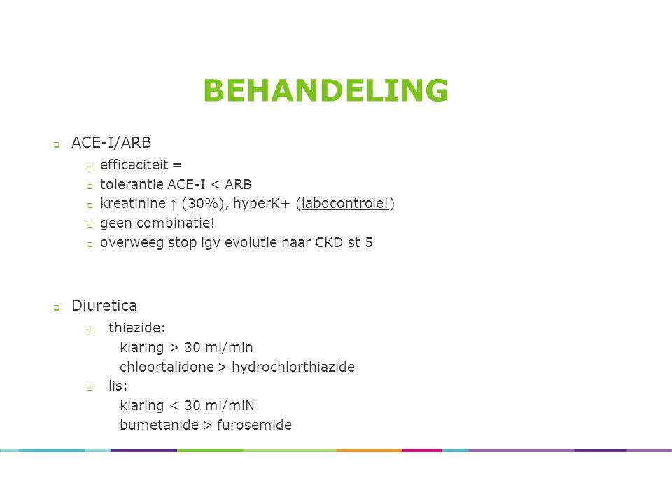 BEHANDELING  ACE-I/ARB  efficaciteit =  tolerantie ACE-I < ARB  kreatinine ↑ (30%), hyperK+ (labocontrole!)  geen combinatie!  overweeg stop igv
