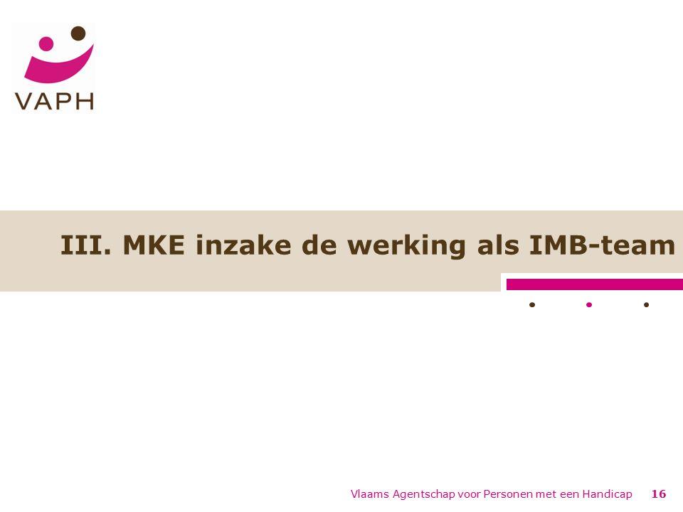Vlaams Agentschap voor Personen met een Handicap16 III. MKE inzake de werking als IMB-team