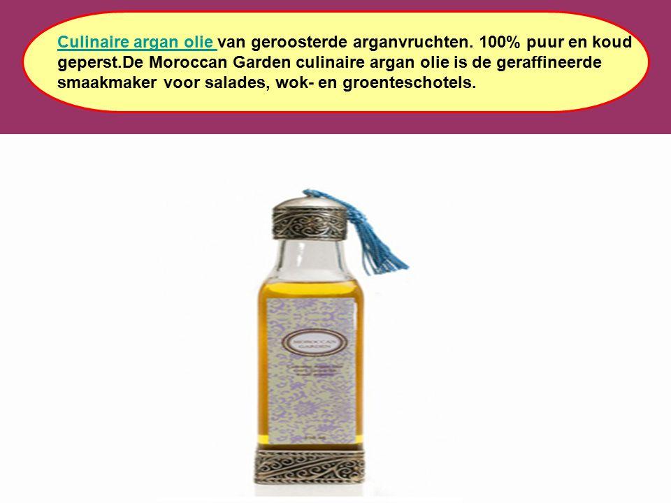 Culinaire argan olie Culinaire argan olie van geroosterde arganvruchten. 100% puur en koud geperst.De Moroccan Garden culinaire argan olie is de geraf