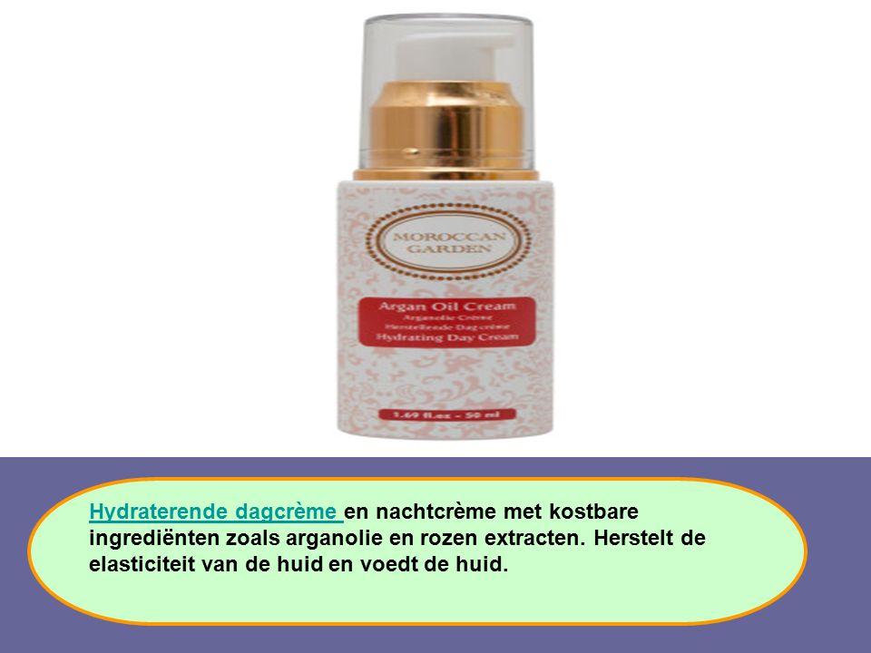 Hydraterende dagcrème Hydraterende dagcrème en nachtcrème met kostbare ingrediënten zoals arganolie en rozen extracten. Herstelt de elasticiteit van d