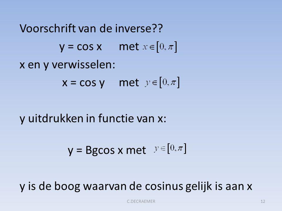 Voorschrift van de inverse?? y = cos x met x en y verwisselen: x = cos y met y uitdrukken in functie van x: y = Bgcos x met y is de boog waarvan de co