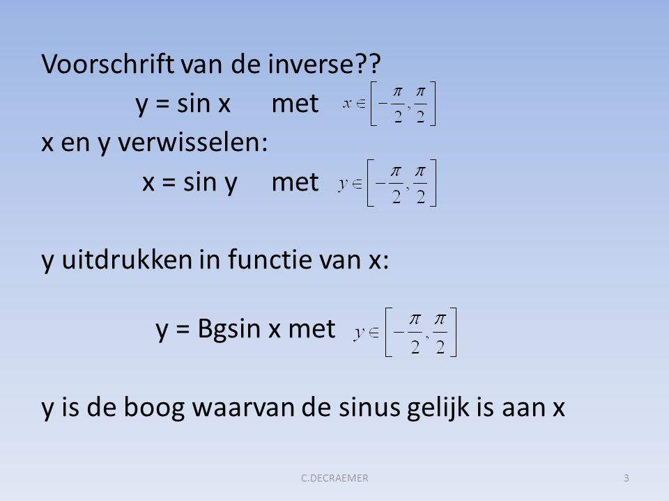 Voorschrift van de inverse?? y = sin x met x en y verwisselen: x = sin y met y uitdrukken in functie van x: y = Bgsin x met y is de boog waarvan de si