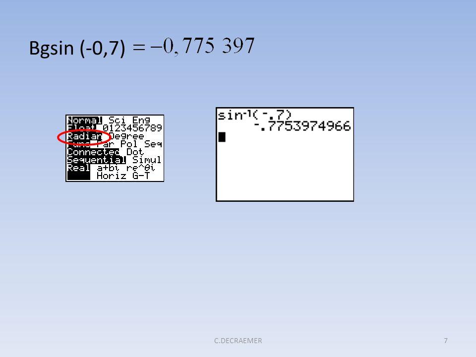 2. Afgeleiden van de cyclometrische functies Afgeleide van Bgsin x 28C.DECRAEMER