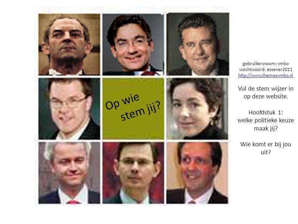 gebruikersnaam: vmbo wachtwoord: essener2011 http://www.themasvmbo.nl Vul de stem wijzer in op deze website. Hoofdstuk 1: welke politieke keuze maak j
