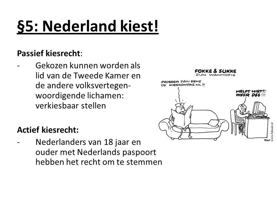 Passief kiesrecht: -Gekozen kunnen worden als lid van de Tweede Kamer en de andere volksvertegen- woordigende lichamen: verkiesbaar stellen Actief kiesrecht: -Nederlanders van 18 jaar en ouder met Nederlands paspoort hebben het recht om te stemmen §5: Nederland kiest!