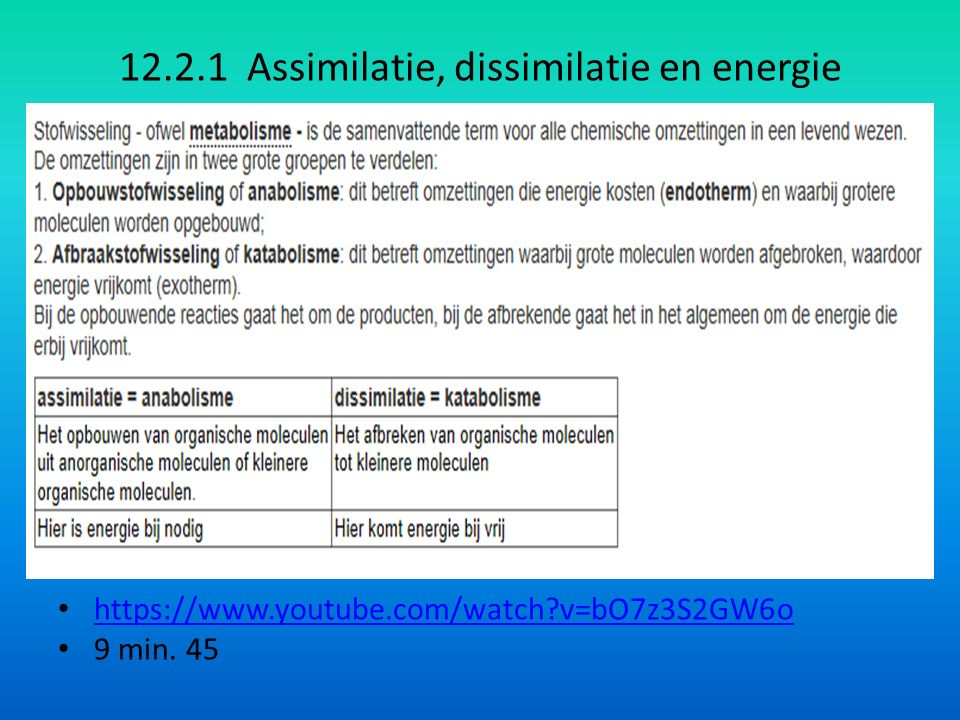 12.2.1 Assimilatie, dissimilatie en energie https://www.youtube.com/watch v=bO7z3S2GW6o 9 min. 45